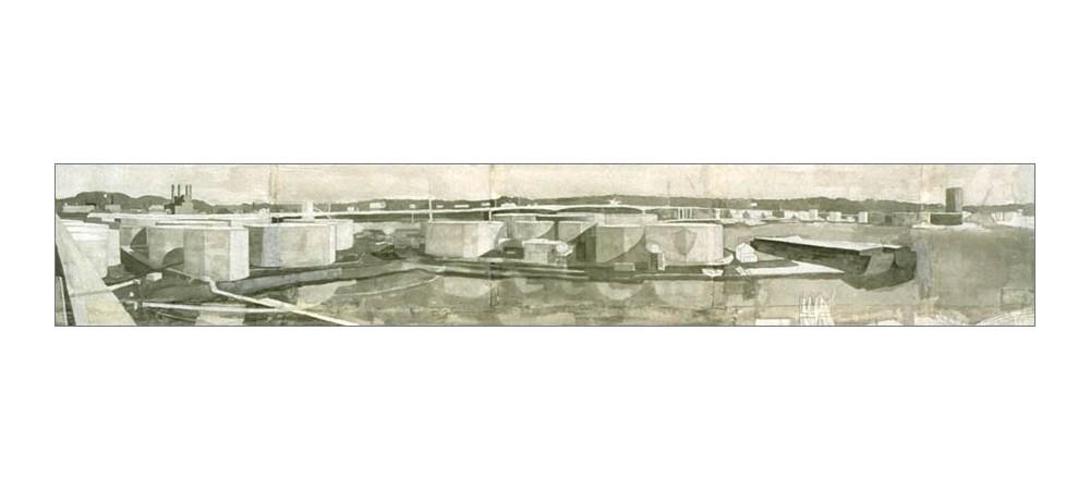 Tanks, eastward 3ft by 9ft inkwash on paper 1999