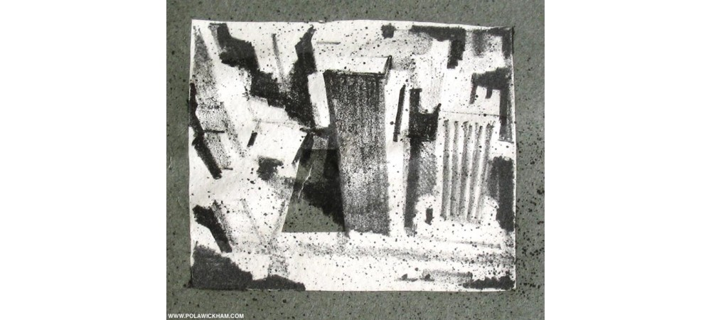 looking down, lithograph and collage, 1997