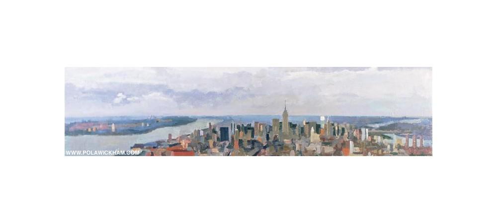 Manhattan, northward, oil on wood panel, 1997