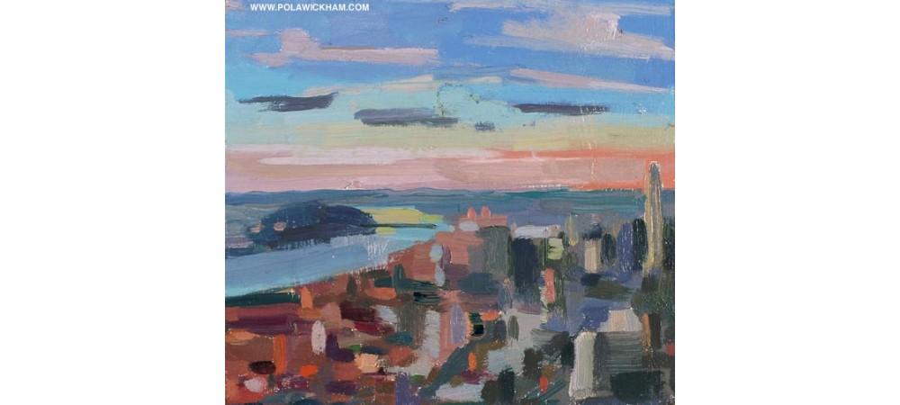 HudsonRiver at sunset, oil on wood panel, 1997