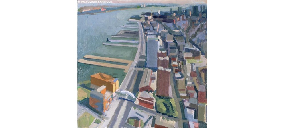 downtown Manhattan, oil on wood panel, 1997