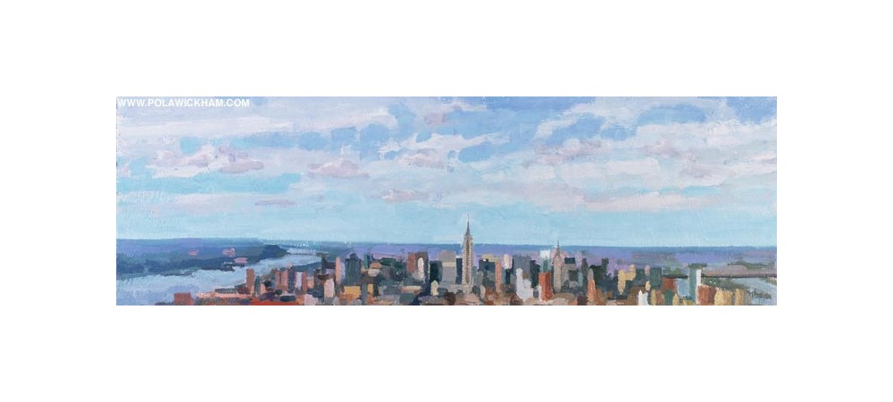 Manhattan, northward - clear day, oil on wood panel, 1997