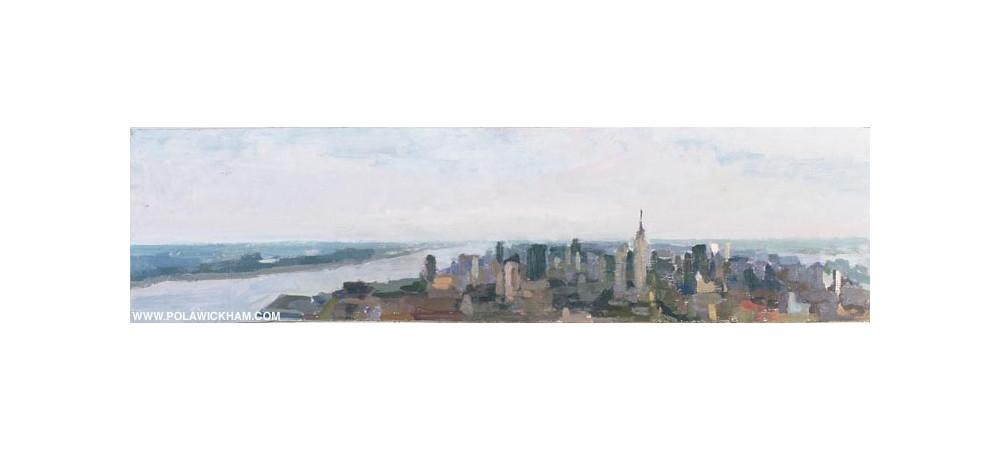 Manhattan, northward - foggy day, oil on wood panel, 1997