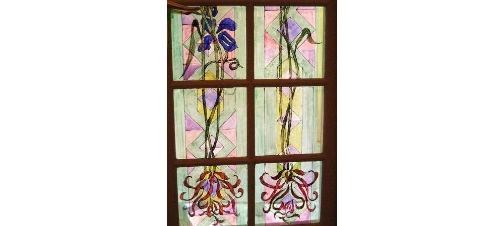 detail of set 2 painted glass doors, Avda Diagonal 423, 2003